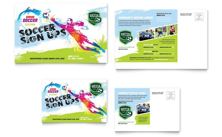 Youth Soccer Postcard Template - Word & Publisher