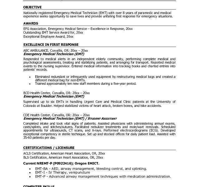Chic Ideas Emt Resume Examples 1 Free EMT - Resume Example