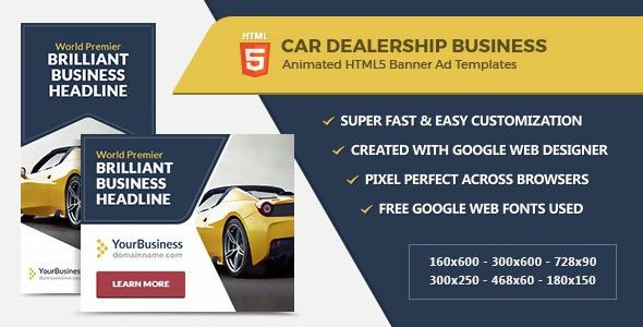 Car Dealership Banner Ads - HTML5 GWD Templates by InfiniWeb ...