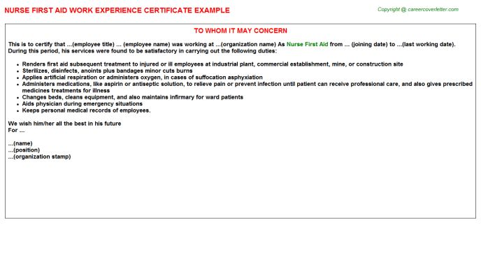 Nurse First Aid Work Experience Certificate