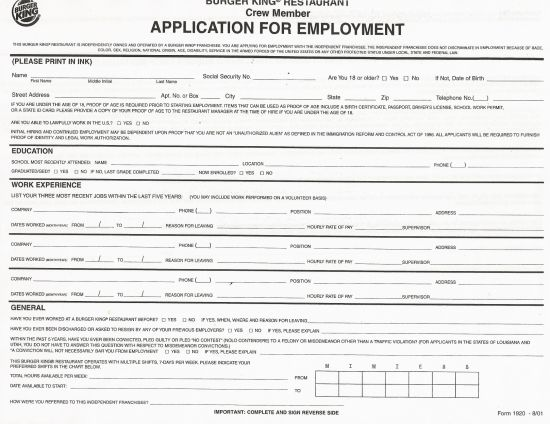 Download Burger King Job Application Form – Careers | PDF ...
