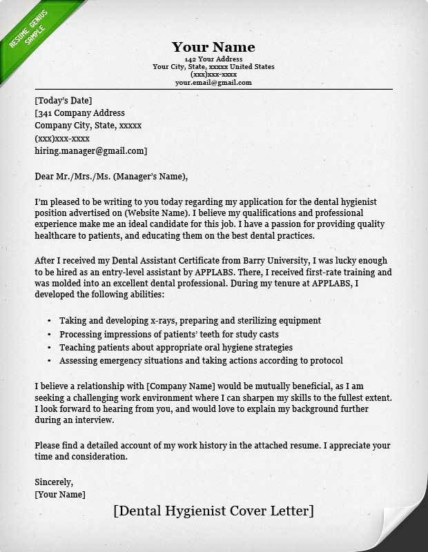 Sample Resume Cover Letter Example. Dental Hygienist (Classic ...