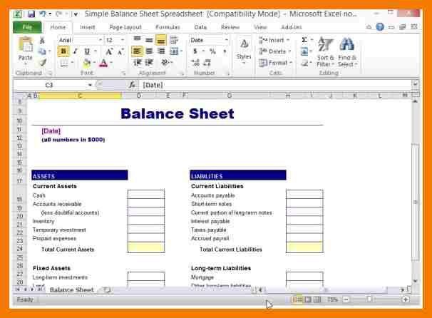 8+ basic balance sheet template | mailroom clerk