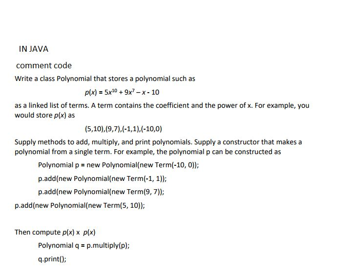 PolynomialTester.java /** A Class To To Test The P... | Chegg.com