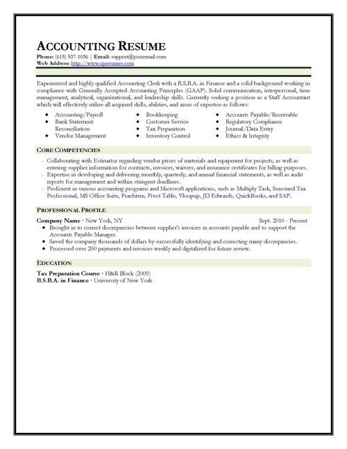 Accounting Resume Template | berathen.Com