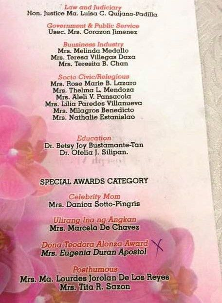 Mrs. Melinda Medallo: One of Ulirang Ina Awardees 2016 – curlydianne