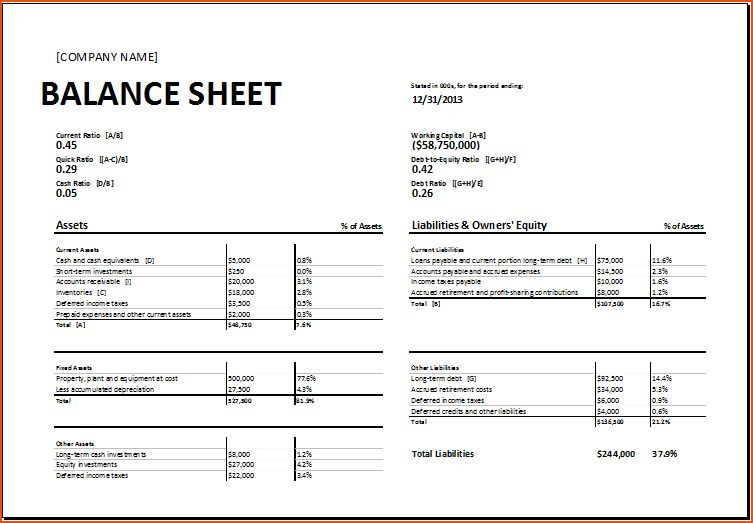 7+ balance sheet template excel - bookletemplate.org