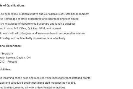 Resume Samples: Custodian Resume, Custodial Worker Resume ...