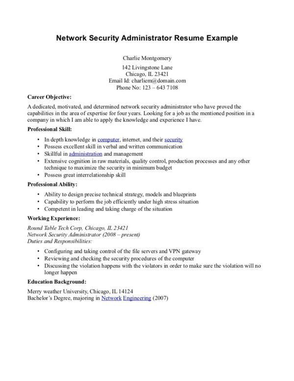 Printable Network Security Administrator Resume Example Featuring ...