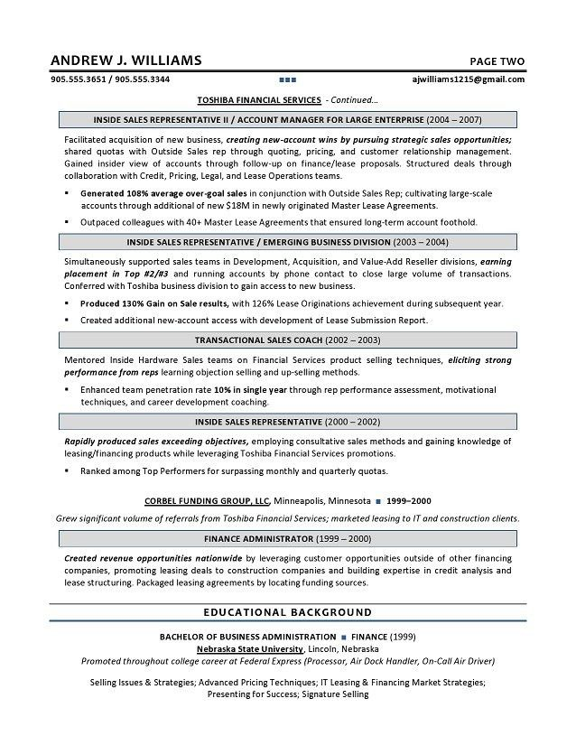 Technical Sales Resume - Executive resume writer for IT Leaders.