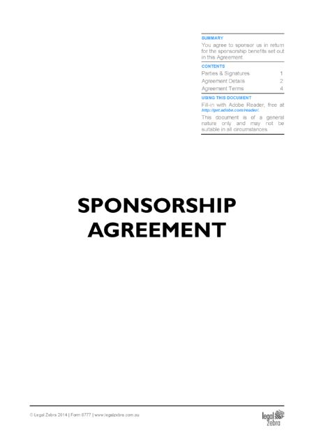 Sport Sponsorship Contract Template | Free Sample | Download DIY ...