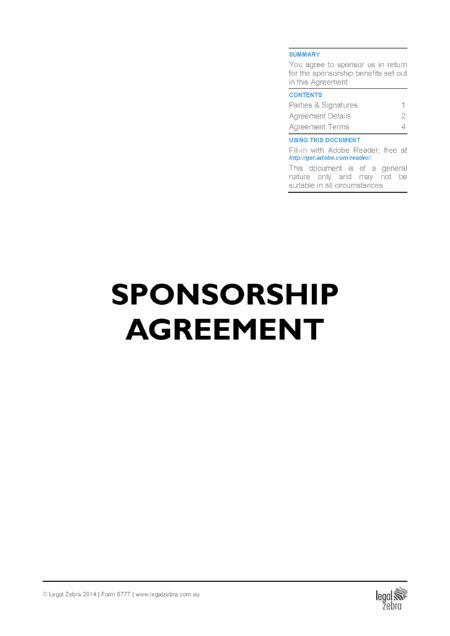 Sport Sponsorship Contract Template | Free Sample | Download DIY ...