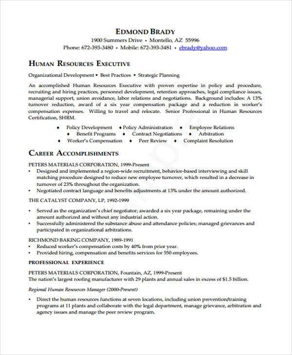 Executive Curriculum Vitae - 9+ Free Sample, Example Format ...
