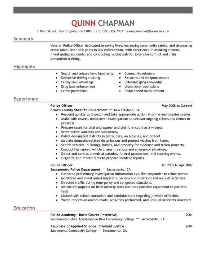 Police Resume Samples - Resume Sample