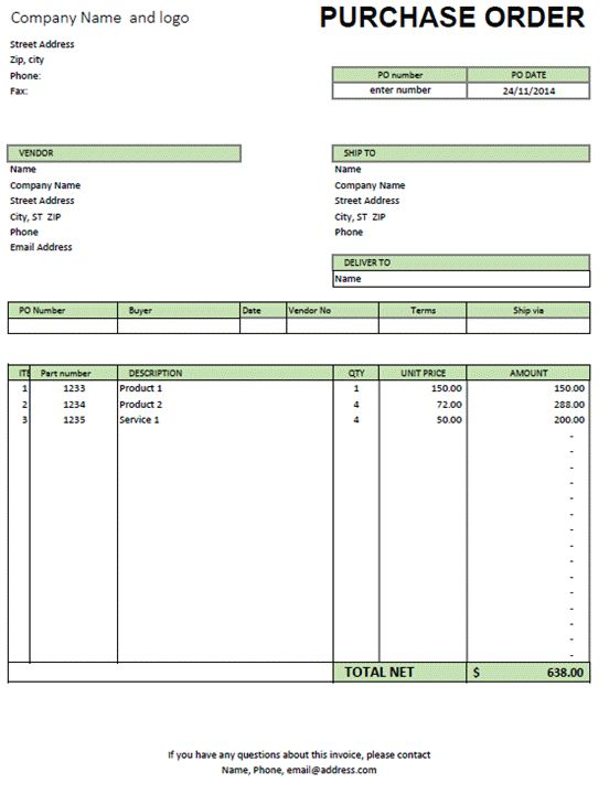 Free 5+ Simple Purchase Order Template Word PDF Excel - Social Ebuzz