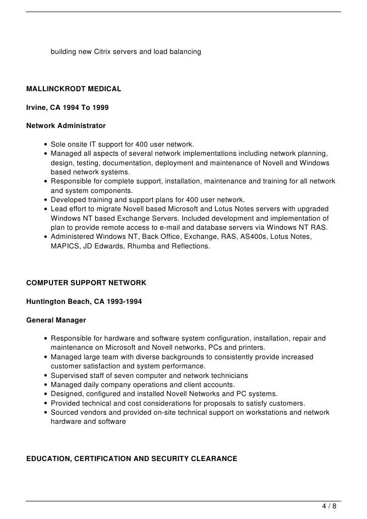 Download Novell Certified Network Engineer Sample Resume ...