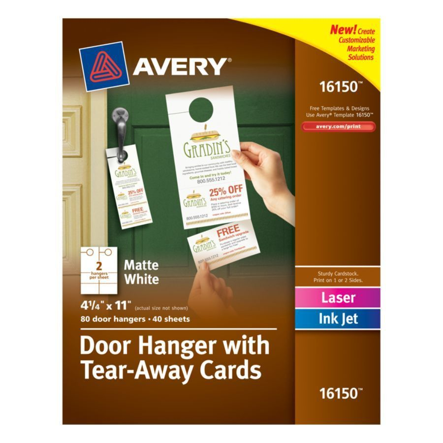 Avery Door Hangers With Tear Away Cards 2 Cards Per Sheet Pack Of ...