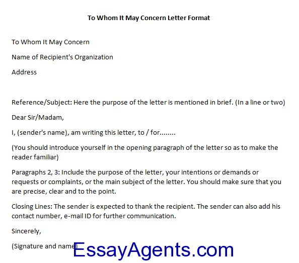 How to Write To Whom It May Concern Letter Format | EssayAgents ...