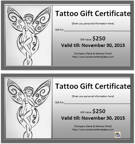 MS word Tattoo Gift Certificate Template | Word & Excel Templates