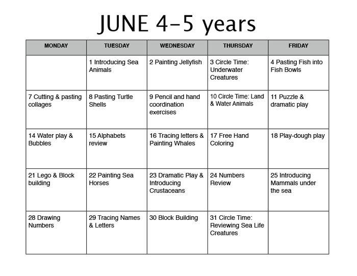 Themes Units Preschool Lesson Plans | June_Lesson_Plan4-5 | Ideas ...