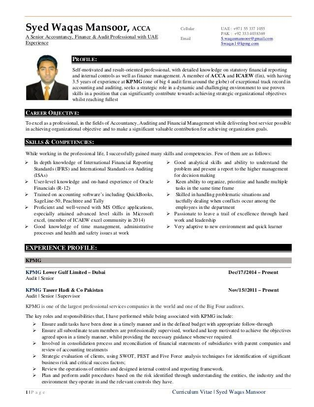 Resume of s.waqas mansoor a senior accountancy, finance & audit prof…