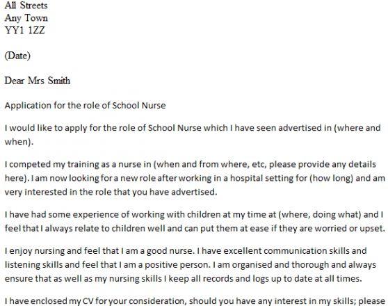 sample cover letter for a nurse