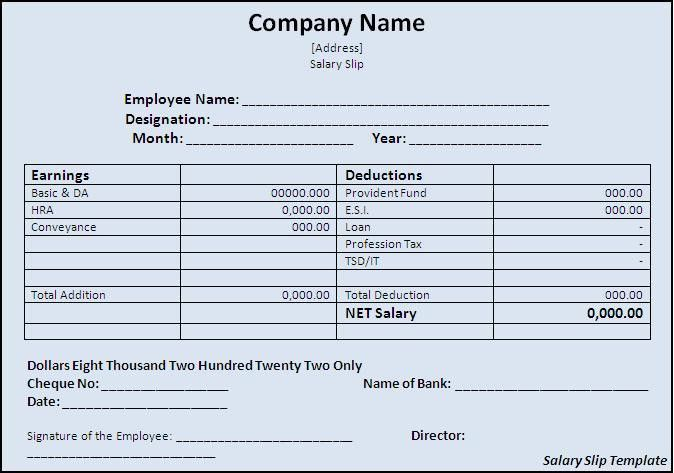 Salary Slip Template - Word Excel PDF
