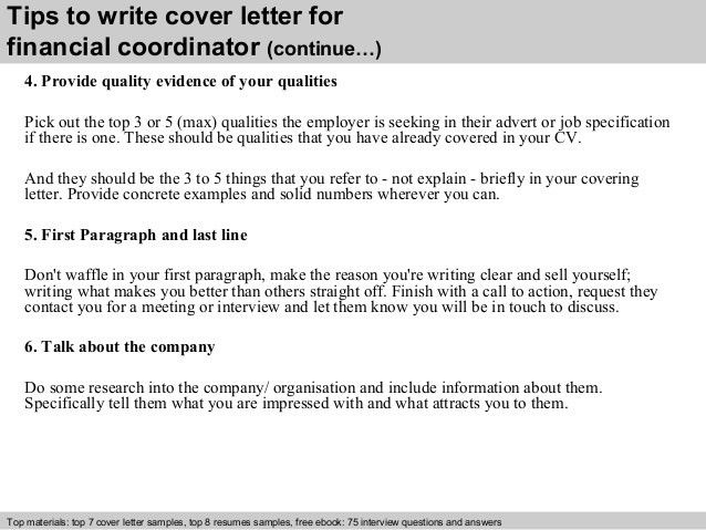 Financial coordinator cover letter