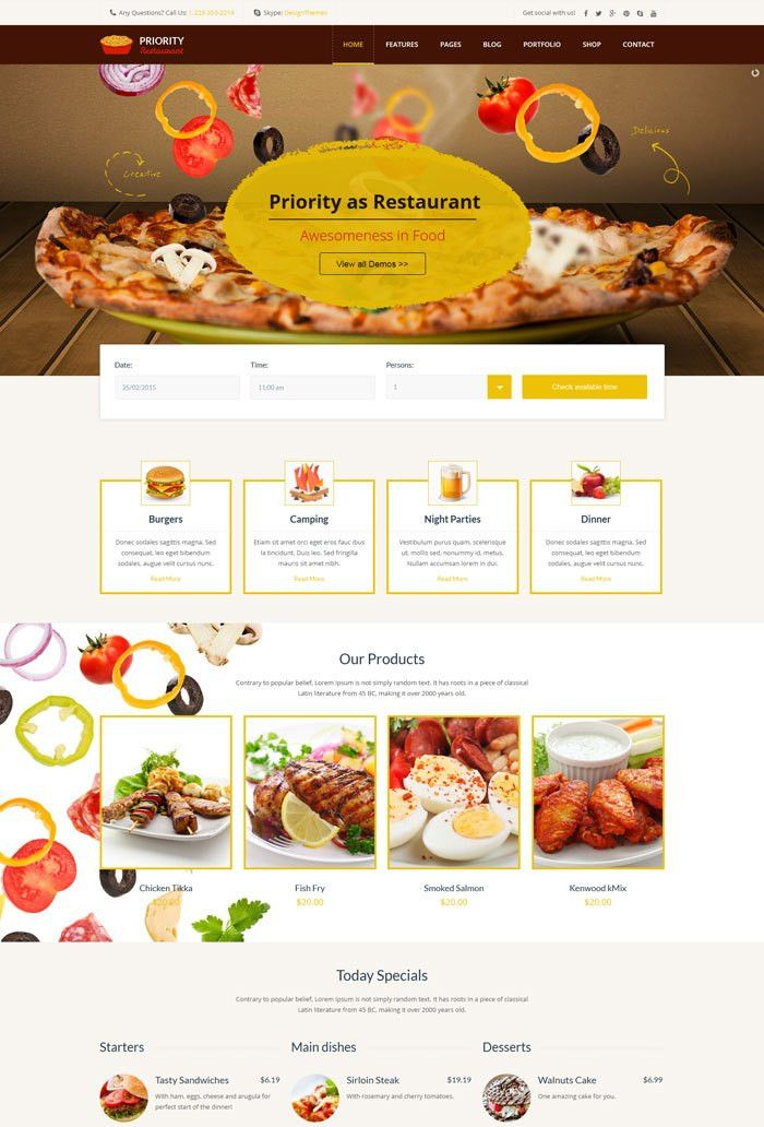 10 + Entertainment Cafe and Restaurant Website Templates