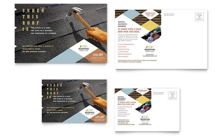 Roofing Contractor Postcard Template - Word & Publisher
