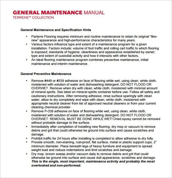 Sample Maintenance Manual Template - 8+ Free Documents in PDF, Word