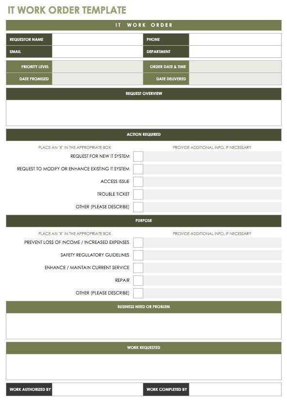 Vehicle Work Order Template - Contegri.com