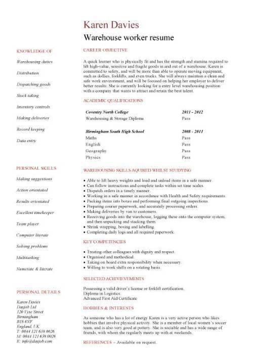Warehouse assistant CV template, job description, sample, stock ...