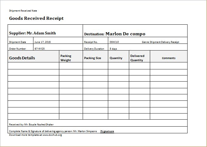 courier delivery form template