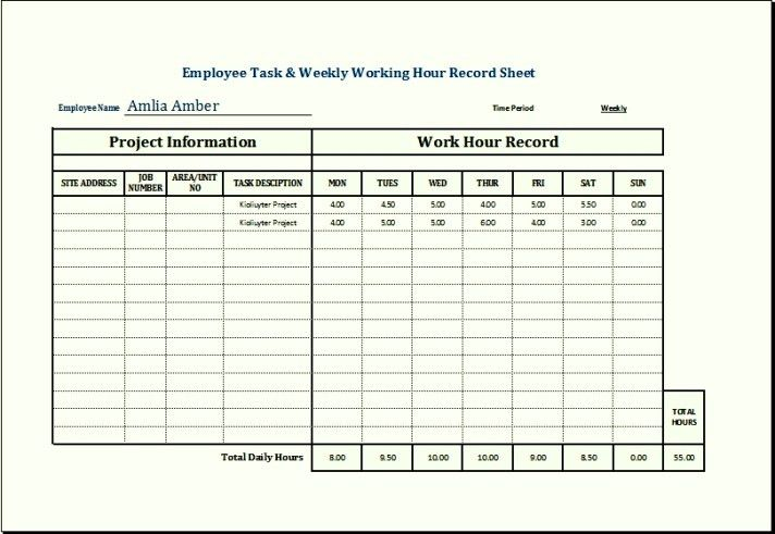 Sample Employee Wages and Holiday Record Template Excel | TemplateZet