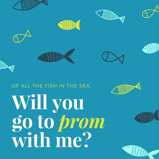 Illustrated Fish Prom Proposal Invitation - Templates by Canva