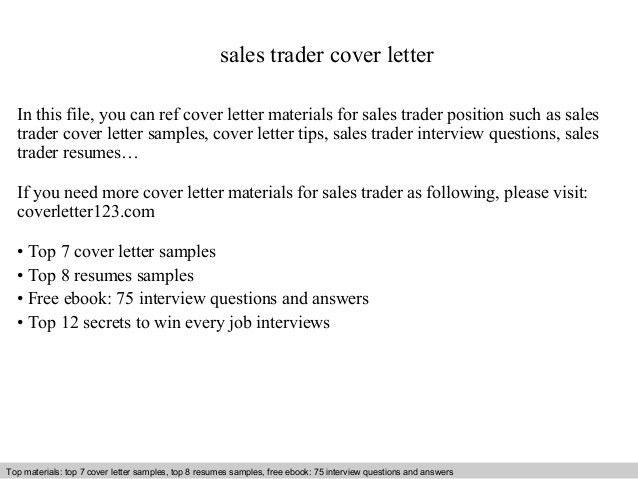 Sales trader cover letter