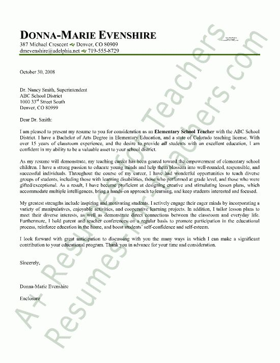 teacher cover letter sample. Resume Example. Resume CV Cover Letter