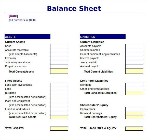 Sample Balance Sheet - 11+ Documents in Word, PDF, Excel