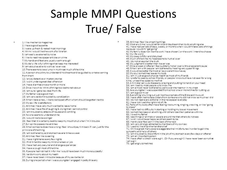 Mmpi Sample Questions | World of Examples