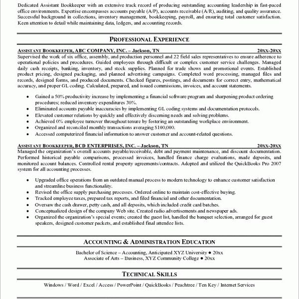 Assistant Bookkeeper Resume Sample. finance administrator cv ...