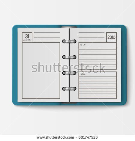 Set Open Realistic Notebooks Pages Diary Stock Vector 603297101 ...