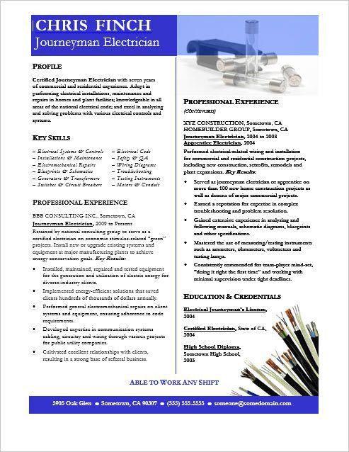Bold Design Journeyman Electrician Resume 14 Sample Electrician ...