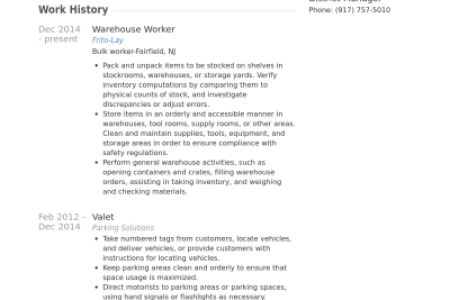 Summary For Resume Warehouse Worker - Reentrycorps