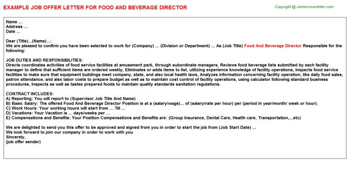 Food And Beverage Director Offer Letter