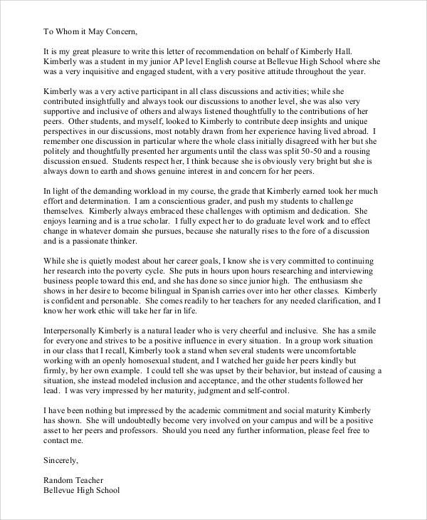 Sample Teacher Recommendation Letter - 7+ Examples in PDF, Word