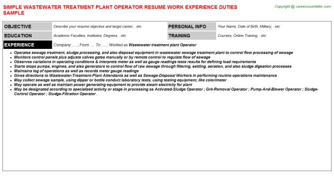 Wastewater Treatment Plant Operator Resume Sample