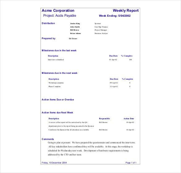 11+ Status Report Templates – Free Sample, Example, Format ...