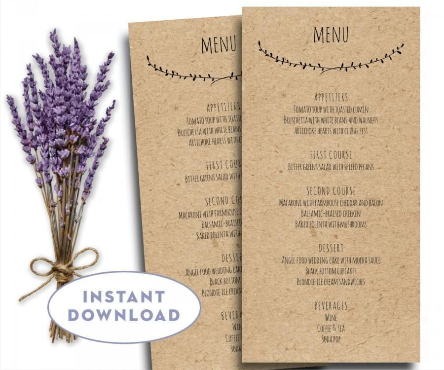 Printable Wedding Menu Template, Kraft Menu Template, 4 X 8 ...