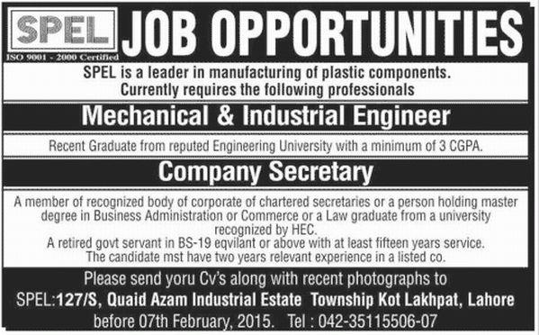 Mechanical and Industrial Engineer Job in SPEL, Company Secretary ...